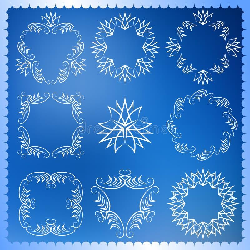 套圣诞节框架 组合图案设计元素,优美的模板 典雅的线艺术商标设计 皇族释放例证