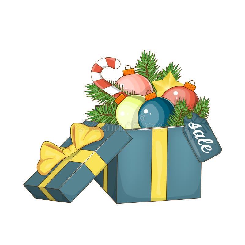 套圣诞节的元素和新年待售 打开有弓的礼物盒, 皇族释放例证