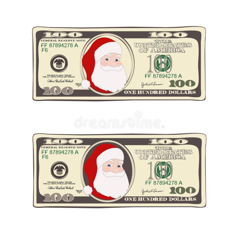 套圣诞节票据与圣诞老人的一百美元 向量例证
