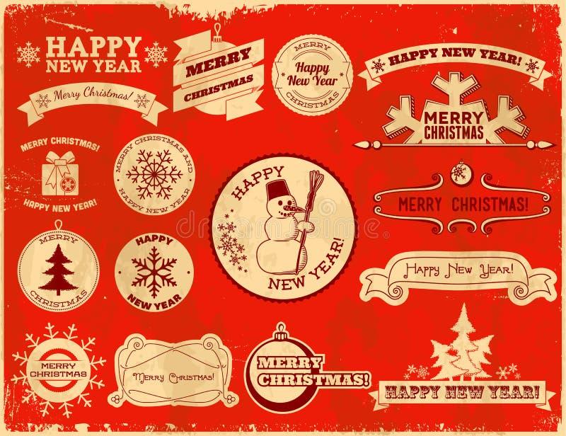 套圣诞节葡萄酒标签 向量例证