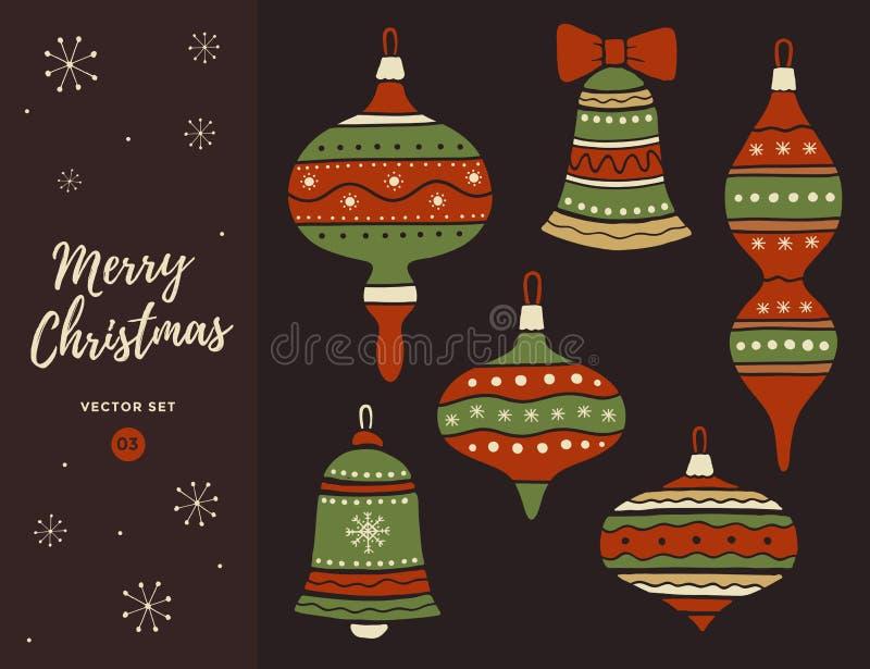 套圣诞节装饰响铃和球与弓 向量例证