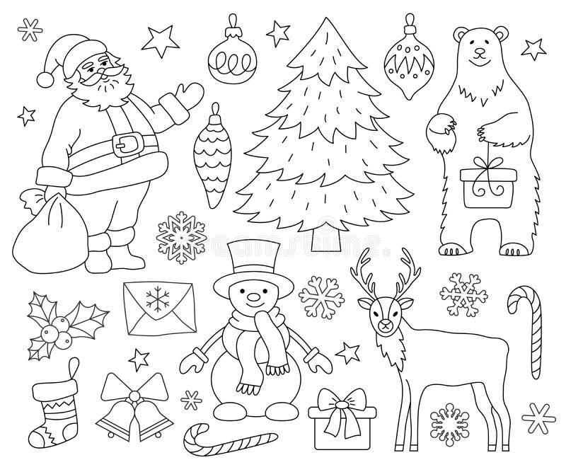 套圣诞节要素 库存例证