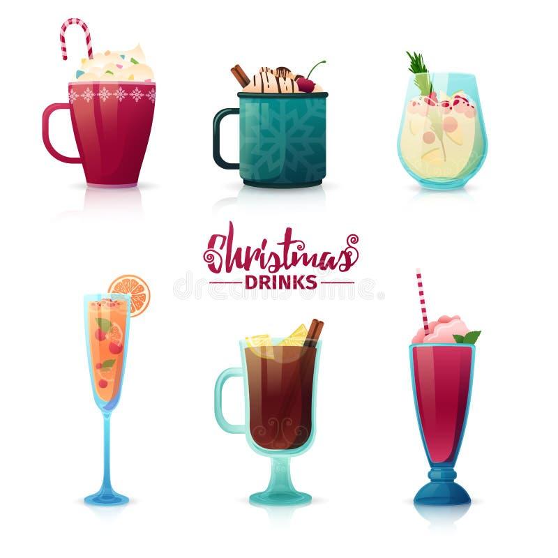 套圣诞节设计在动画片样式喝 被仔细考虑的酒,热巧克力,奶昔为新年假日 库存例证