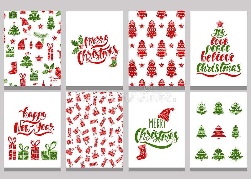套圣诞节贺卡 与无缝的样式的Xmas明信片和印刷术设计 红色和绿色假日模板 库存例证