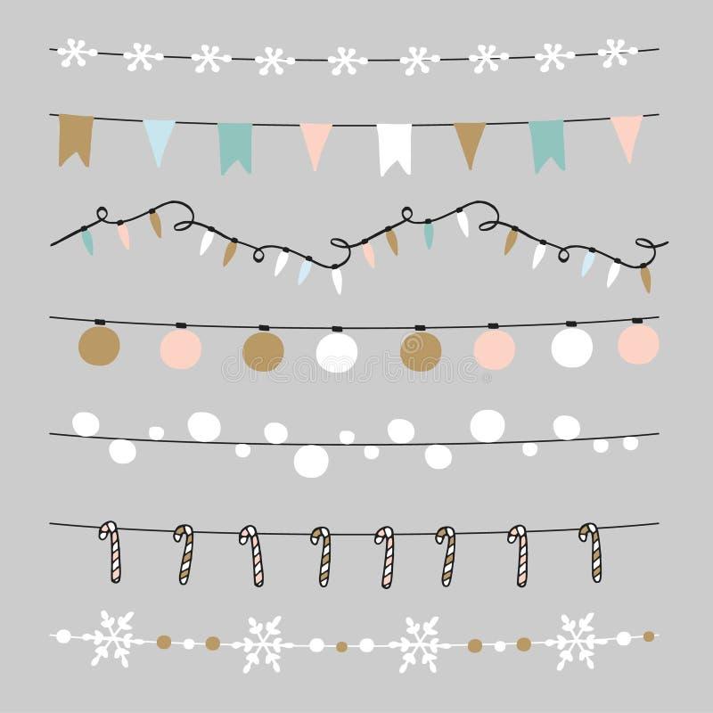 套圣诞节边界,串,诗歌选,刷子 与圣诞节球,中看不中用的物品,光,旗子的Praty装饰 皇族释放例证