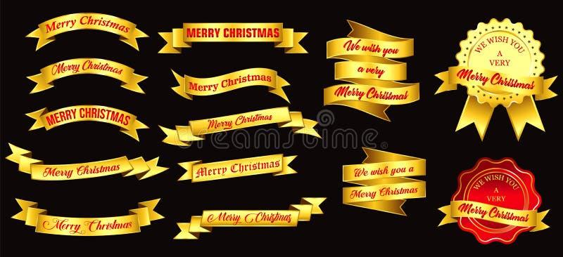 套圣诞节金黄徽章或金黄丝带 向量例证