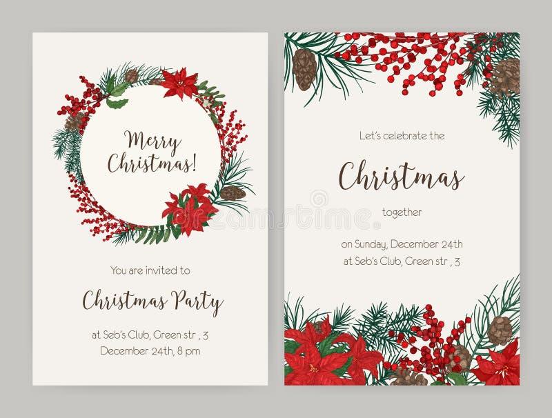 套圣诞节飞行物或党用针叶树分支和锥体装饰的邀请模板,霍莉叶子和 库存照片