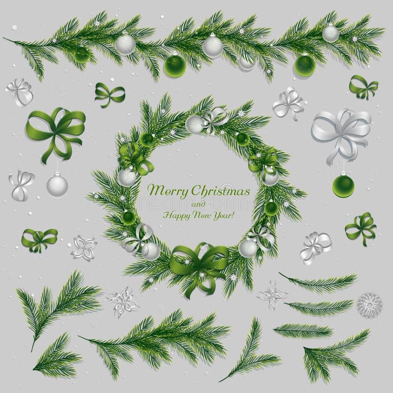 套圣诞节decorationsÑŽ绿色和银色颜色 免版税库存图片