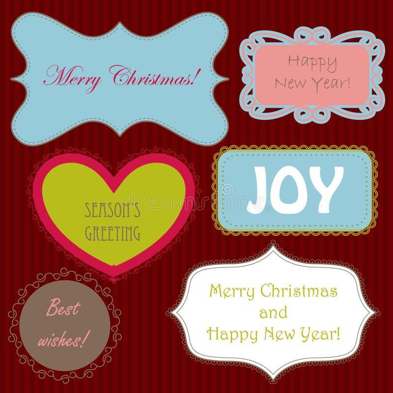 套圣诞节ng新年横幅 库存例证