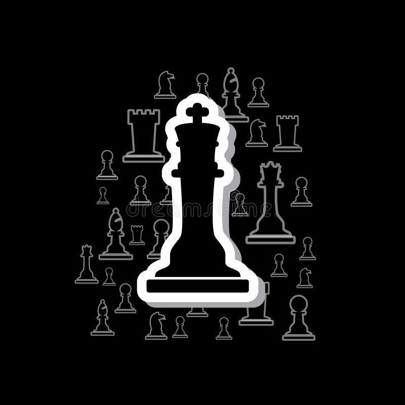 套在云彩的黑白概述棋子在黑暗的背景eps10 库存例证