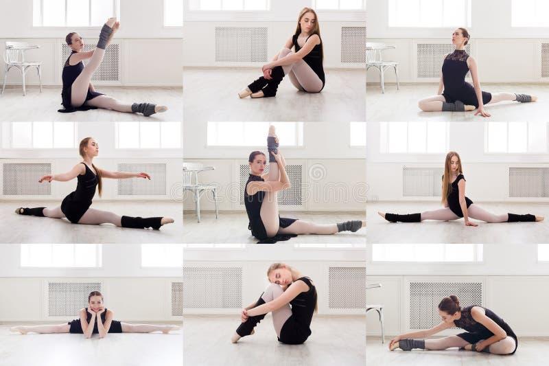 套在健身房的年轻芭蕾舞女演员训练 图库摄影
