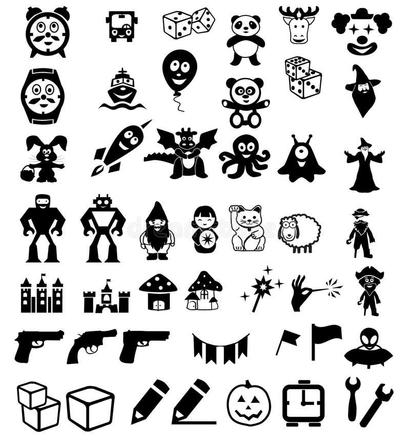 Download 套在儿童的玩具的象 向量例证. 插画 包括有 火箭, 南瓜, 矮人, 图标, 城堡, 熊猫, 向量, 兔子 - 72366675