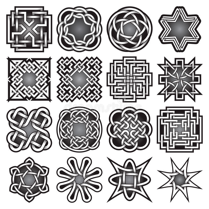 套在凯尔特结样式的抽象神圣的几何标志 库存照片