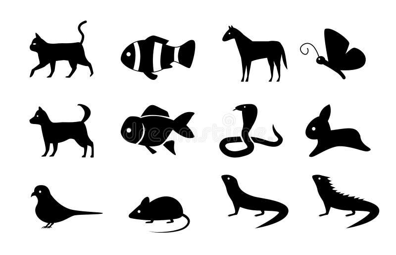 套在剪影样式,传染媒介的动物象 向量例证