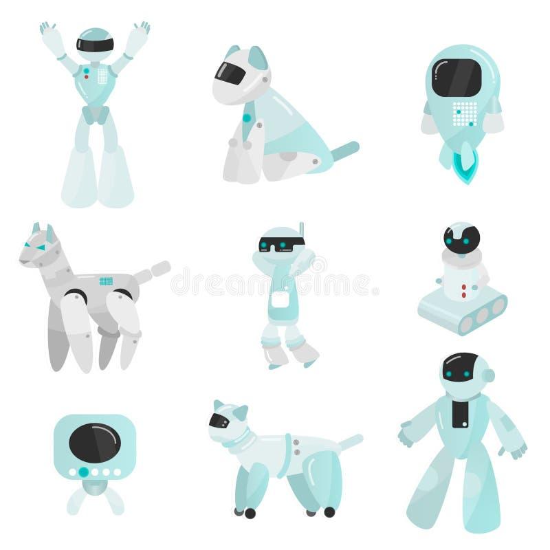 套在动画片样式的传染媒介机器人 被隔绝的传染媒介机器人在白色背景中 皇族释放例证