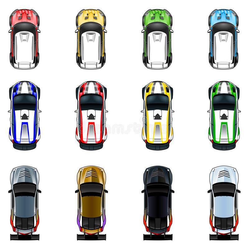 套在四种不同颜色的三辆汽车 库存例证