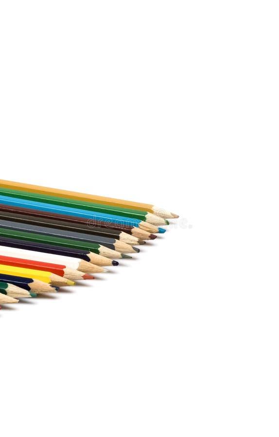 套在堆的色的铅笔 免版税图库摄影