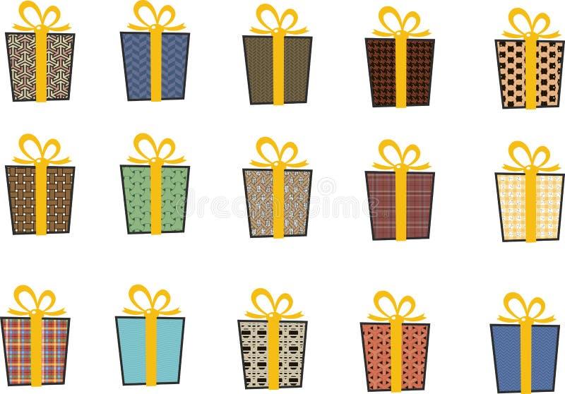 套在平的样式的传染媒介象圣诞节的 时髦的套礼物和圣诞节袜子 录制黄色 向量例证