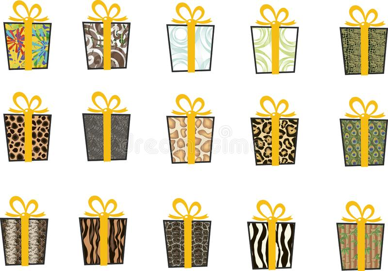 套在平的样式的传染媒介象圣诞节的 时髦的套礼物和圣诞节袜子 录制黄色 皇族释放例证