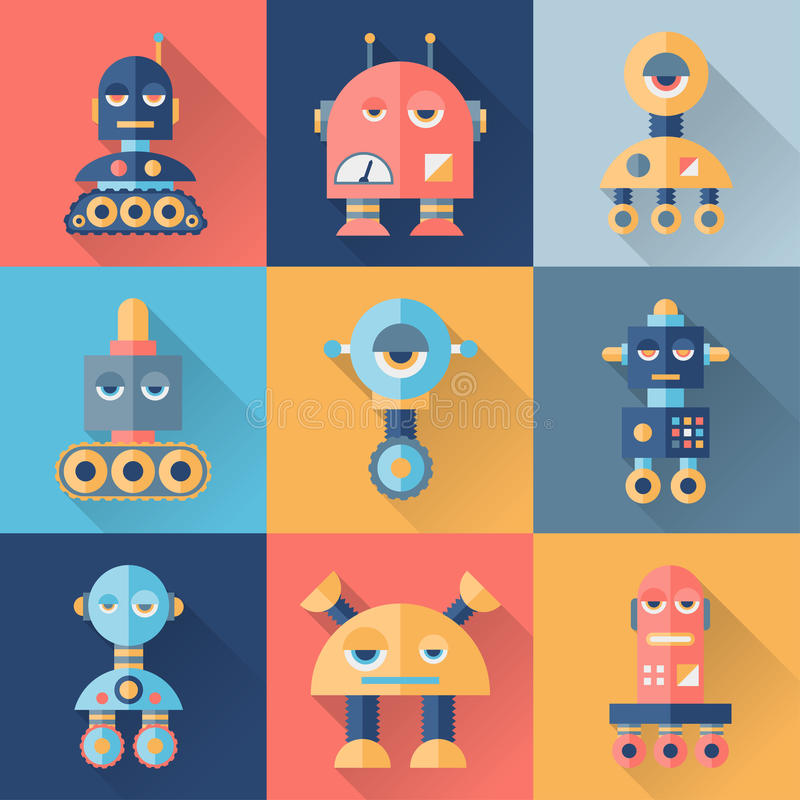 套在平的样式的机器人 皇族释放例证