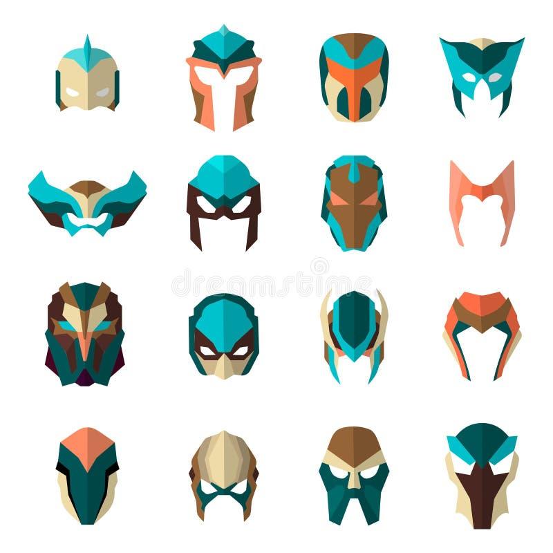 套在平的样式的特级英雄面具 大汇集动画片超级英雄 向量 库存例证