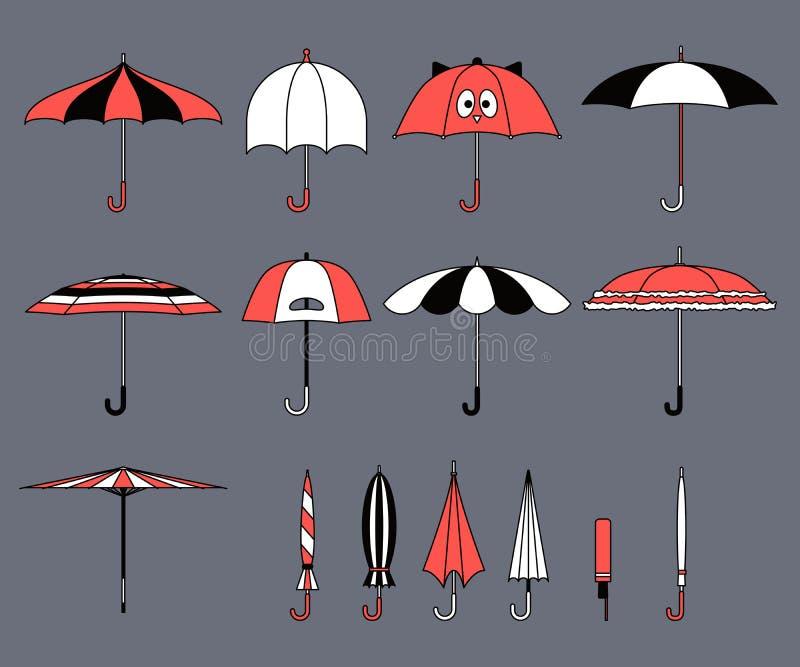 套在平的设计样式的传染媒介逗人喜爱的多色伞 闭合和开放时尚象 盖子辅助部件 现代样式 Protec 库存例证