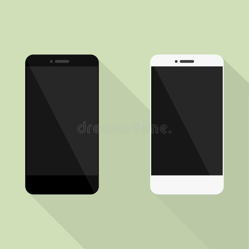 套在新式的现实手机收藏 有阴影的白色和黑智能手机 皇族释放例证