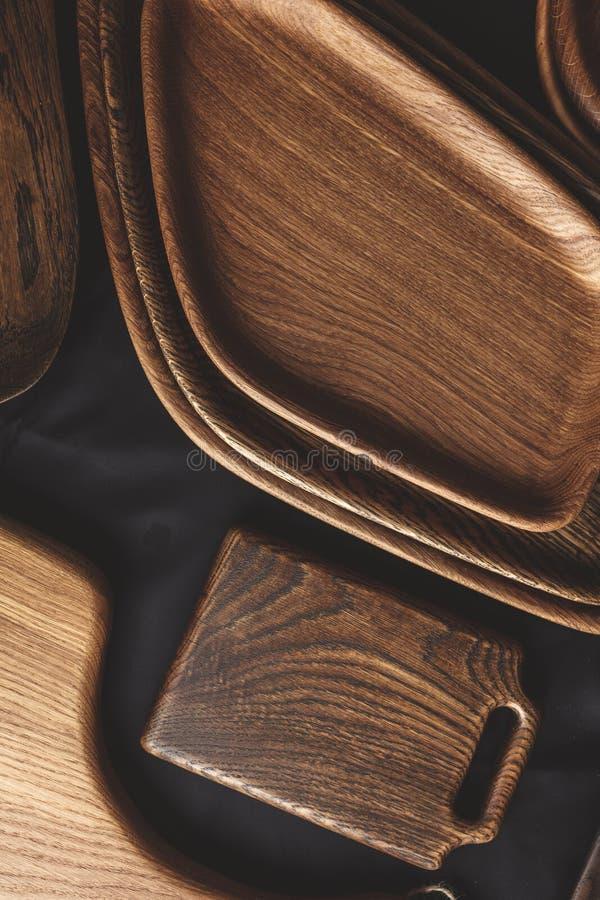 套在木背景的切板 免版税库存照片