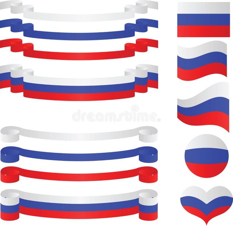 套在标志颜色的俄国丝带。 库存例证