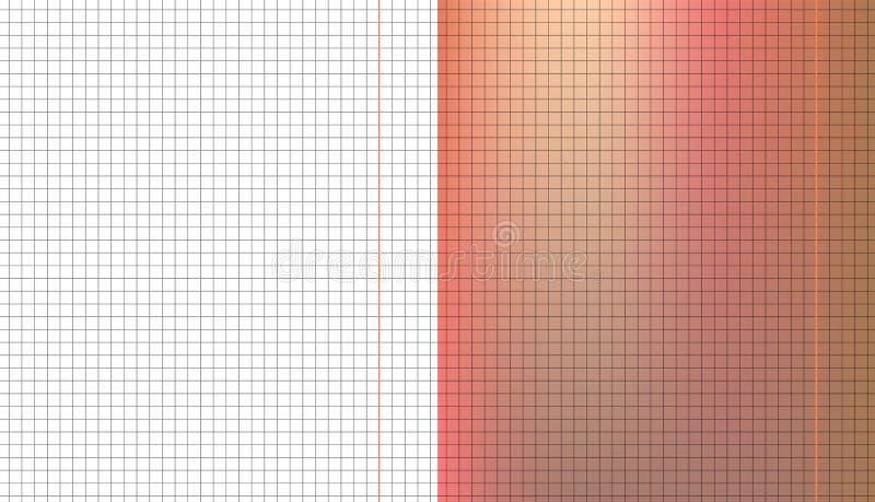套在橙色和白色板料纸的灰色被摆正的栅格笔记本 教育纹理 向量例证