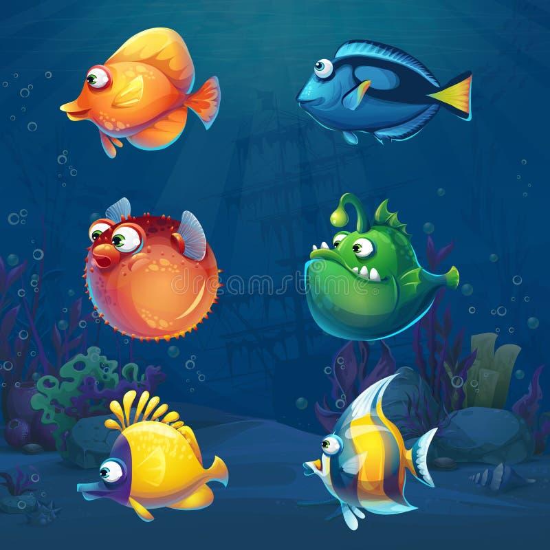 套在水下的世界的动画片滑稽的鱼 皇族释放例证