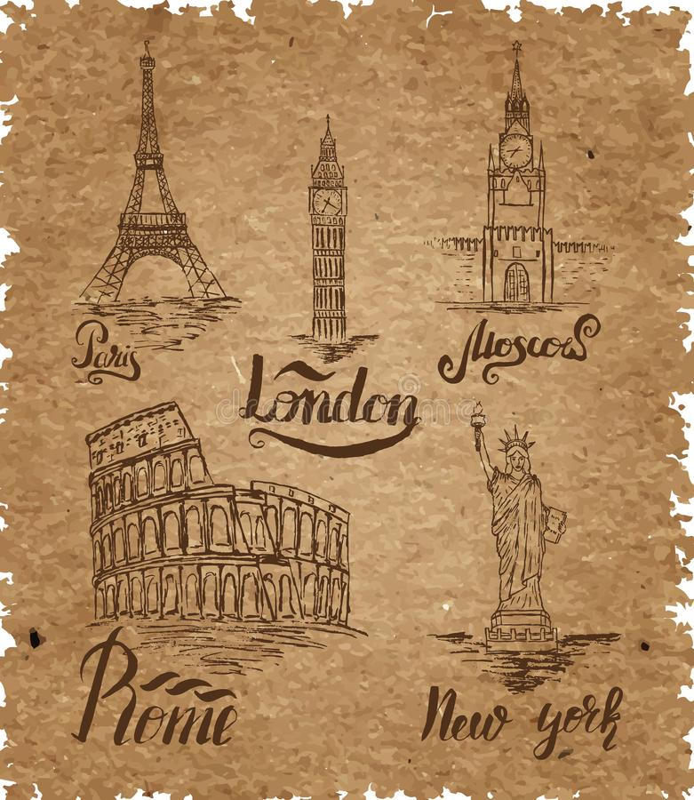 套在牛皮纸的纽约,莫斯科,巴黎,罗马,伦敦标签 皇族释放例证