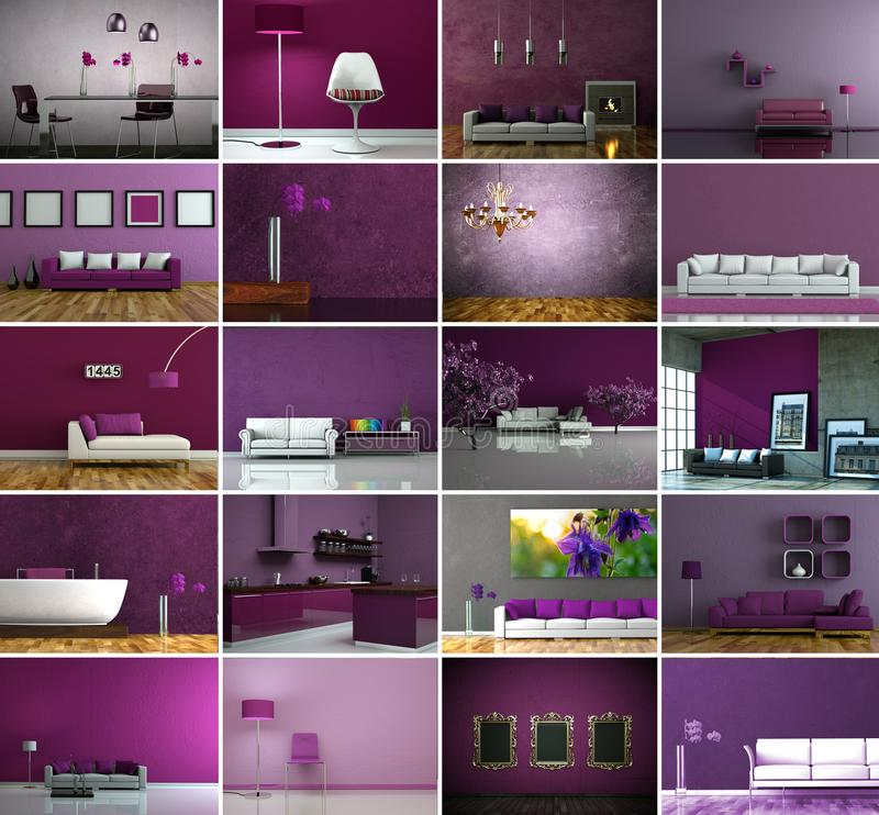 套在现代紫色室内设计的沙发 皇族释放例证