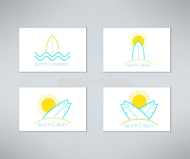 套在现代干净和明亮的样式做的传染媒介冲浪的卡片商标设计 Surfboarding T恤杉印刷品 海浪设计 库存例证