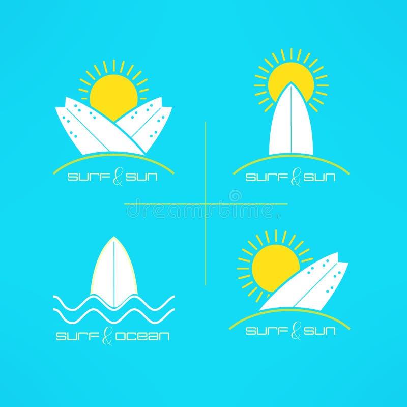套在现代干净和明亮的样式做的传染媒介冲浪的卡片商标设计 Surfboarding T恤杉印刷品 海浪设计 皇族释放例证