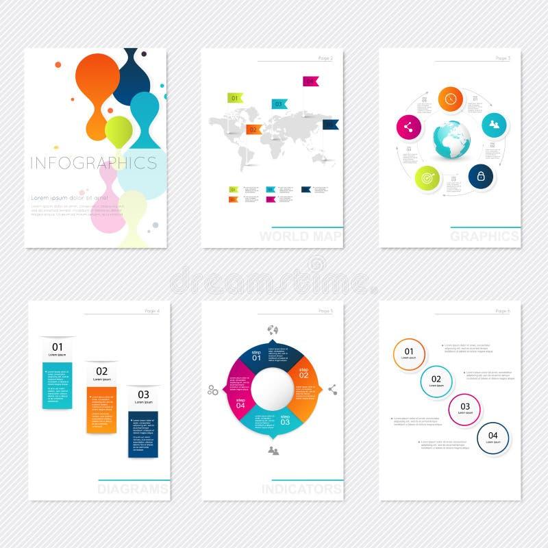 套在现代平的企业样式的infographics元素 向量例证