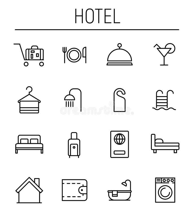 套在现代稀薄的线型的旅馆象 库存例证