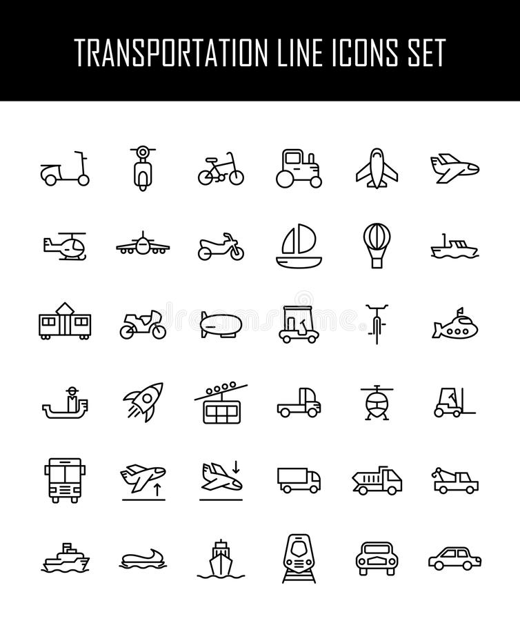 套在现代稀薄的线型的运输象 向量例证