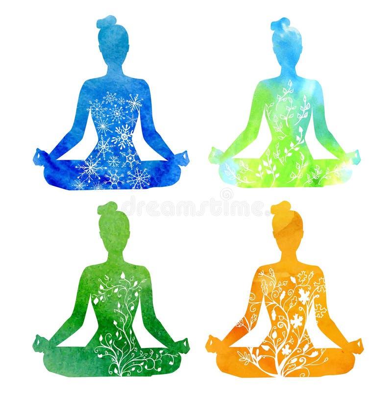 套在瑜伽姿势的四季节性女性silhouttes 向量例证