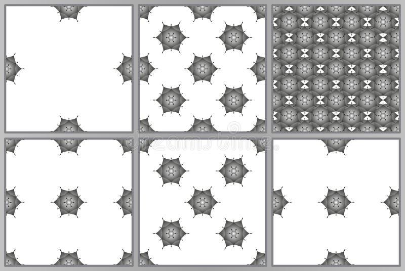 套在白色背景的六个传染媒介无缝的几何样式 葡萄酒纹理 免版税库存照片