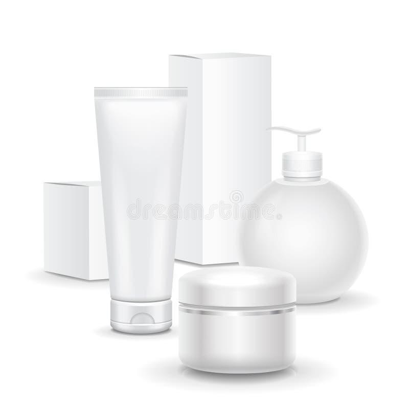套在白色背景的化妆产品 奶油,汤的化妆包裹收藏,起泡沫 皇族释放例证
