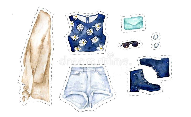 套在白色背景的夏天偶然clothers 向量例证