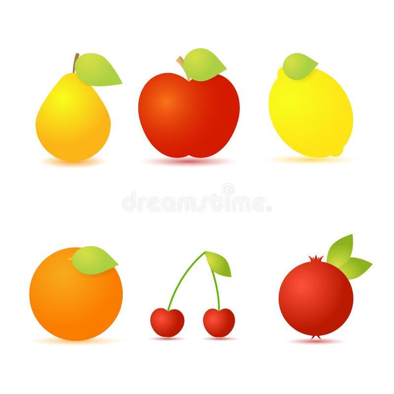 套在白色背景的新鲜水果 向量例证