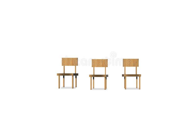 套在白色背景的木椅子 皇族释放例证