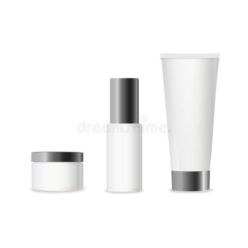 套在白色背景的现实化妆瓶 奶油,汤的化妆包裹收藏,起泡沫,香波,胶浆 假装U 向量例证