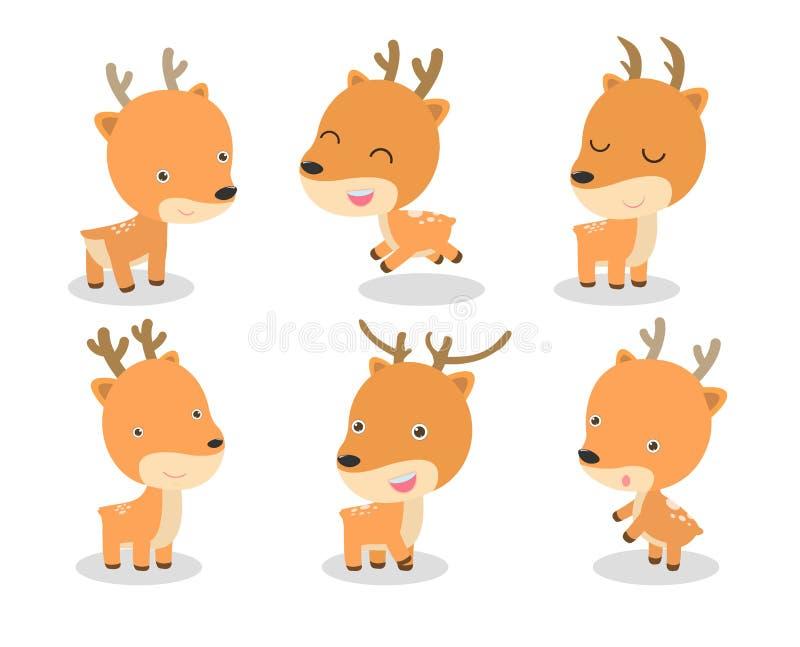 套在白色背景的逗人喜爱的鹿动画片 也corel凹道例证向量 向量例证