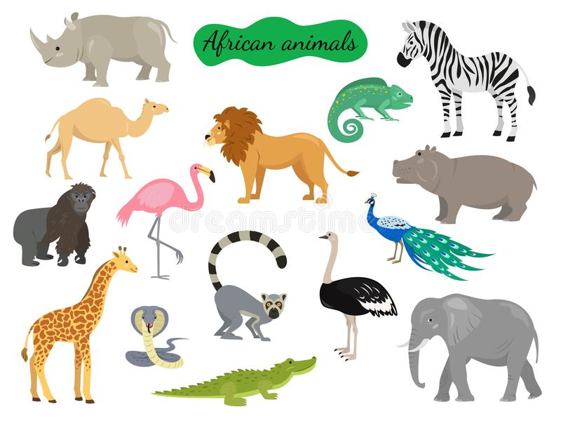 套在白色背景的非洲动物 库存例证