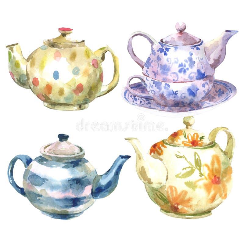 套在白色背景的水彩茶壶 库存例证