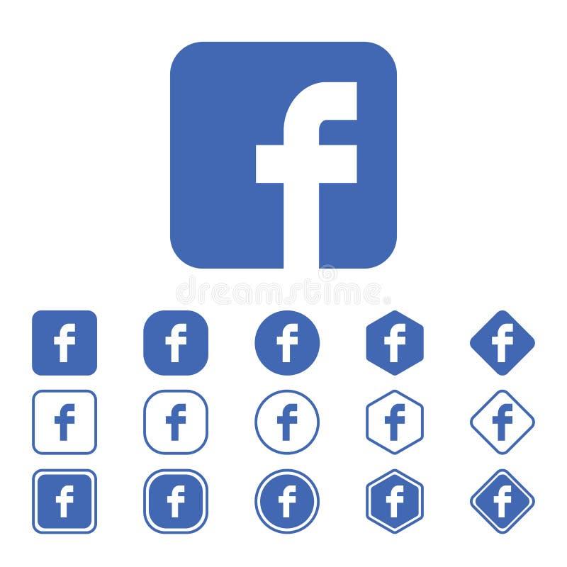 套在白色背景的Facebook平的象 皇族释放例证