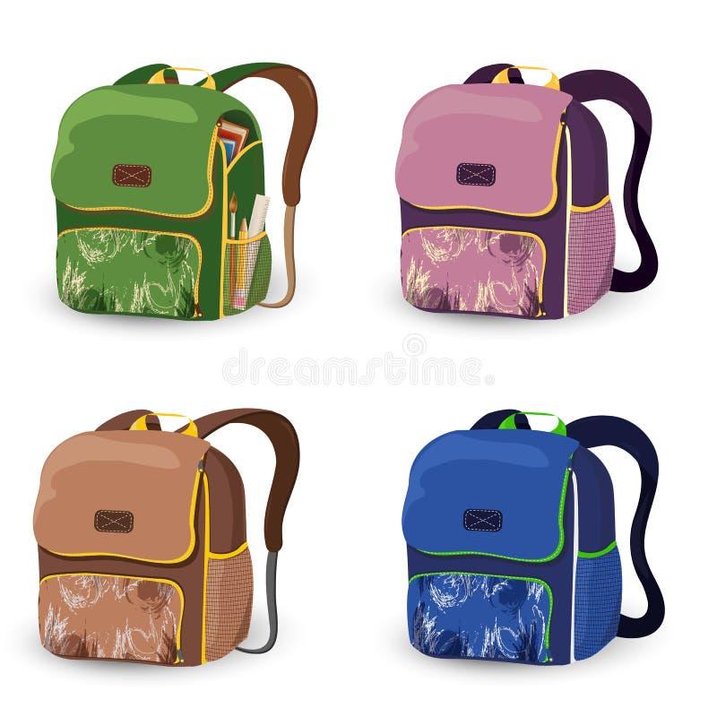 套在白色背景隔绝的书包孩子 书包动画片 背包,有学校用品的背包为 库存例证